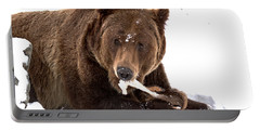 Snowy Grizzly Lunch Portable Battery Charger