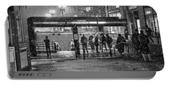 Snowy Harvard Square Night- Harvard T Station Black And White Portable Battery Charger