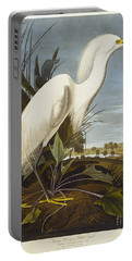 Snowy Heron Portable Battery Charger by John James Audubon