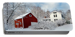 Snowy Homestead With Red Barn Portable Battery Charger
