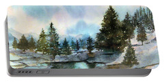 Snowy Lake Reflections Portable Battery Charger