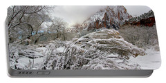 Snowy Mountains In Zion Portable Battery Charger by Daniel Woodrum