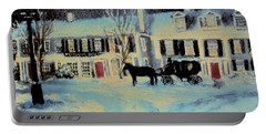 Snowy Night At The Inn Portable Battery Charger