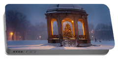 Snowy Night On The Salem Common Portable Battery Charger by Jeff Folger