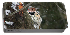 Snowy Northern Flicker Portable Battery Charger by Trina Ansel