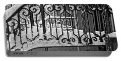 Portable Battery Charger featuring the painting Snowy Nyc Steps by Joan Reese