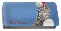 Portable Battery Charger featuring the photograph Snowy Owl Christmas Card by Everet Regal