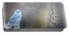Snowy Owl Christmas Greeting Portable Battery Charger