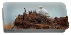 Snowy Owl In Dunes Portable Battery Charger