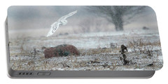 Snowy Owl In Flight 3 Portable Battery Charger by Gary Hall