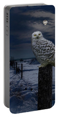 Snowy Owl On A Winter Night Portable Battery Charger