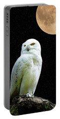 Portable Battery Charger featuring the photograph Snowy Owl Under The Moon by Scott Carruthers