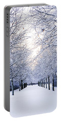 Snowy Pathway Portable Battery Charger by Marius Sipa