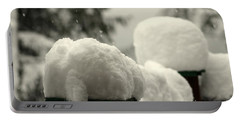 Snowy Posts Portable Battery Charger by Leone Lund