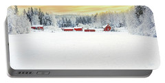 Snowy Ranch At Sunset Portable Battery Charger