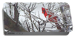 Snowy Red Bird A Cardinal In Winter Portable Battery Charger
