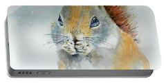 Snowy Red Squirrel Portable Battery Charger by William Reed
