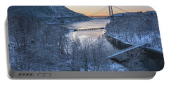 Snowy Winter Dawn At Three Bridges Portable Battery Charger