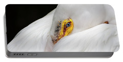 Portable Battery Charger featuring the photograph Snuggled White Pelican by Penny Lisowski