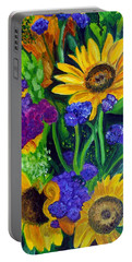 Sunflowers -soaking Up Sunshine Portable Battery Charger