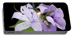 Portable Battery Charger featuring the mixed media Soaring Hummingbird by Marvin Blaine