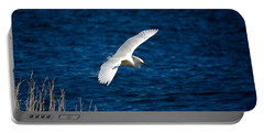 Soaring Snowy Egret  Portable Battery Charger by DigiArt Diaries by Vicky B Fuller
