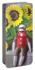 Portable Battery Charger featuring the painting Sock Monkey And Sunflowers by Randol Burns