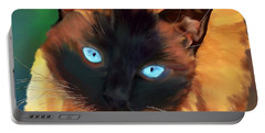 Portable Battery Charger featuring the digital art Socrates Felis Catus by Iowan Stone-Flowers