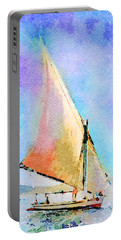 Portable Battery Charger featuring the painting Soft Evening Sail by Angela Treat Lyon