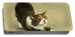 Portable Battery Charger featuring the painting Soft Kitty by Anastasiya Malakhova
