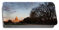 Soft Orange Glow - U S Capitol And The National Mall At Sunset Portable Battery Charger