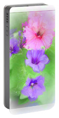 Soft Petunias Portable Battery Charger