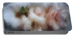 Soft Pink Roses Portable Battery Charger by Louise Kumpf