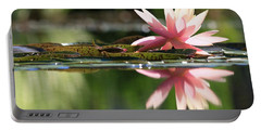 Soft Pink Water Lily Portable Battery Charger