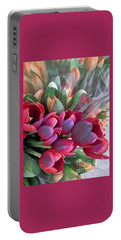 Soft Reds Of Spring - Tulips Portable Battery Charger by Miriam Danar