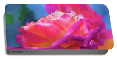 Soft Rose Bloom In Red And Purple Portable Battery Charger by Kirt Tisdale