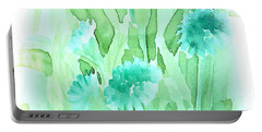 Soft Watercolor Floral Portable Battery Charger by Judy Palkimas