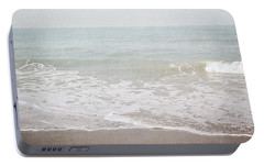 Portable Battery Charger featuring the mixed media Soft Waves- Art By Linda Woods by Linda Woods