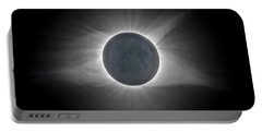 Portable Battery Charger featuring the photograph Solar Eclipse With Moon Detail And Text by Lori Coleman
