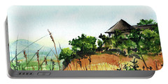 Portable Battery Charger featuring the painting Solitary Cottage In Malawi by Dora Hathazi Mendes