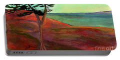 Portable Battery Charger featuring the painting Solitary Pine by Claire Bull