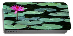 Solitary Water Lily Portable Battery Charger by Laurel Talabere