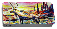 Portable Battery Charger featuring the painting Solitude Caribou by Monique Faella