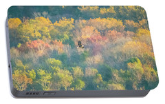 Portable Battery Charger featuring the photograph Solo Eagle With Fall Colors by Jeff at JSJ Photography