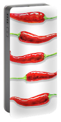 Portable Battery Charger featuring the painting Some Likes It Hot Red Chili  by Irina Sztukowski