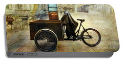 Portable Battery Charger featuring the photograph Somerset House Cart Bicycle by Craig J Satterlee
