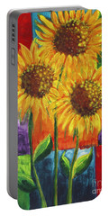 Portable Battery Charger featuring the painting Sonflowers I by Holly Carmichael