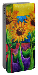 Portable Battery Charger featuring the painting Sonflowers II by Holly Carmichael