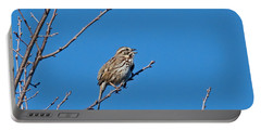 Portable Battery Charger featuring the photograph Song Sparrow by Michael Peychich