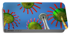 Portable Battery Charger featuring the photograph Sonic Bloom In Seattle Center by Adam Romanowicz